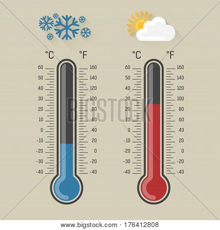 Celsius and fahrenheit meteorology thermometers measuring heat and cold, vector illustration. Thermometer equipment showing hot or cold weather. Snowflakes and sun with cloud icons.