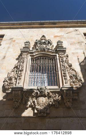 Salamanca (Castilla y Leon Spain): window of historic palace in baroque style