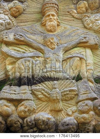 Stone altar carved in sandstone cliff in the forest near the village Marenicky Luzicke Mountains Czech Republic