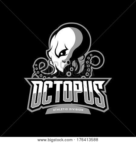 Furious octopus sport vector logo concept isolated on dark background. Modern professional team badge design. Premium quality wild cephalopod mollusk t-shirt tee print illustration.