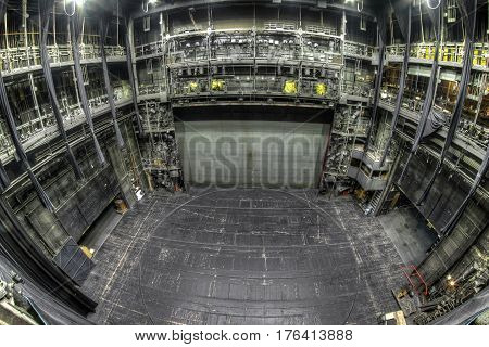 Stage in the old and abandoned theatre