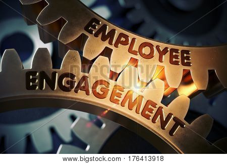Employee Engagement - Technical Design. Employee Engagement on Mechanism of Golden Gears with Lens Flare. 3D Rendering.