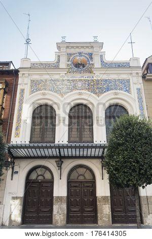 VALLADOLID, SPAIN - JULY 25, 2016: Valladolid (Castilla y Leon Spain): facade of the historic Lope de Vega Theater