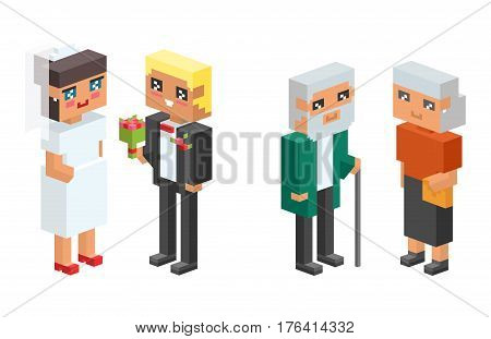3d isometric family couples children, kids people concept flat icons. Flirting, love, first date, wedding and parenting. Family concept. Together concept. People couple vector 3d square illustration