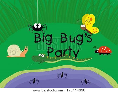 Cute insects. Spider, butterfly, snail, snake, ladybug and pond skaters in a grass near a pond holding text Big bug party vector