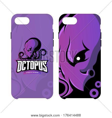 Furious octopus sport vector logo concept smart phone case isolated on white background. Modern professional team badge design. Premium quality wild cephalopod mollusk artwork cell phone cover illustration.