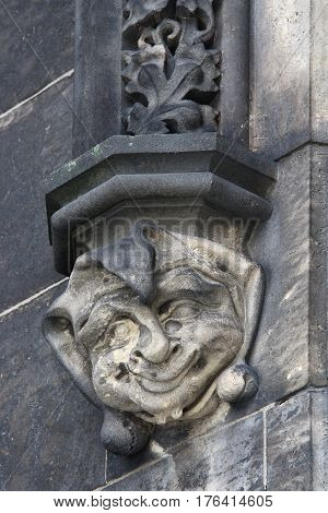 Head of jester - Gothic architecture decoration - detail