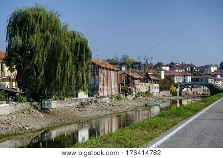 Bernate town along Naviglio Grande of Turbigo (Milan Italy)