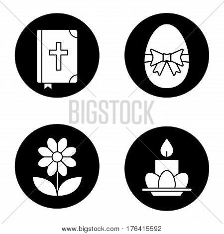 Easter icons set. Holy Bible, Easter egg with bow and ribbon, camomile, eggs and candle on plate. Vector white silhouettes illustrations in black circles