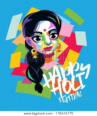 Traditional spring indian colorful festival Holi. Poster in pop art style.