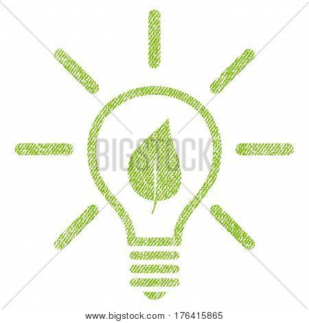 Eco Light Bulb vector textured icon for overlay watermark stamps. Fabric light green vectorized texture. Symbol with dirty design. Rubber seal stamp with fiber textile structure.