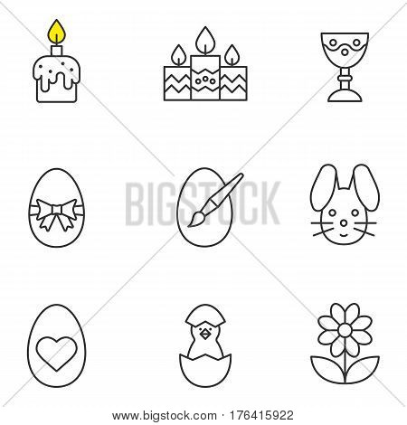 Easter linear icons set. Candles, Easter bunny and eggs, camomile, goblet, newborn chicken. Thin line contour symbols. Isolated vector illustrations