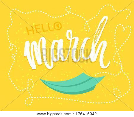 Spring greetings to the month of March design in yellow background with paper origami plane was drawing to a seasonal marketing promotion. Vector illustration.