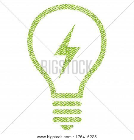 Electric Bulb vector textured icon for overlay watermark stamps. Fabric light green vectorized texture. Symbol with unclean design. Rubber seal stamp with fiber textile structure.