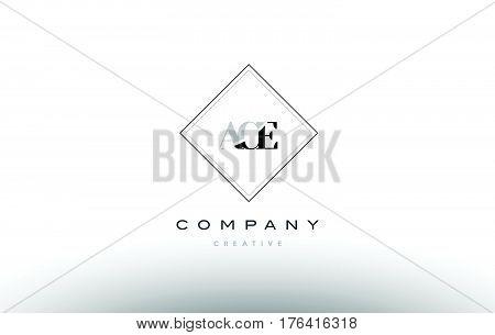 Ace A C E Retro Vintage Rhombus Simple Black White Alphabet Letter Logo