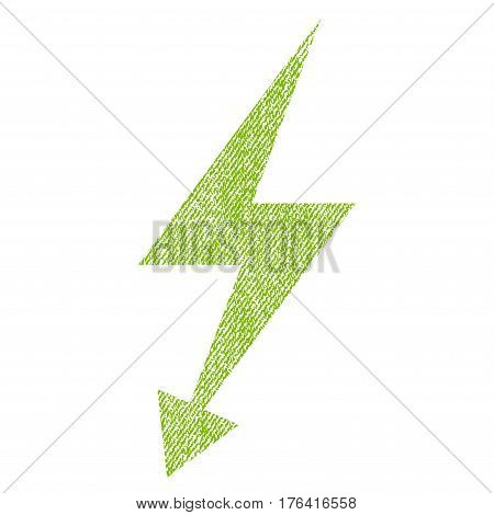 Electric Strike vector textured icon for overlay watermark stamps. Fabric light green vectorized texture. Symbol with unclean design. Rubber seal stamp with fiber textile structure.