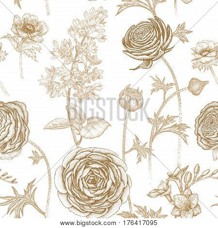 Spring flowers seamless floral pattern. Hand drawing garden plants buttercup, lilac, freesia, anemone. Print gold foil on white background. Vector vintage illustration. For wrapping, fabric, paper.