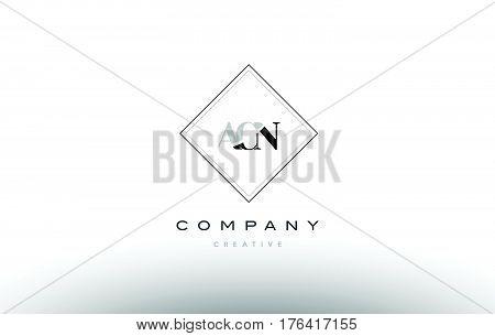 Acn A C N Retro Vintage Rhombus Simple Black White Alphabet Letter Logo
