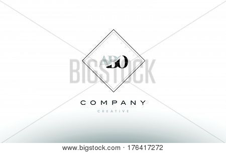 Abo A B O Retro Vintage Rhombus Simple Black White Alphabet Letter Logo