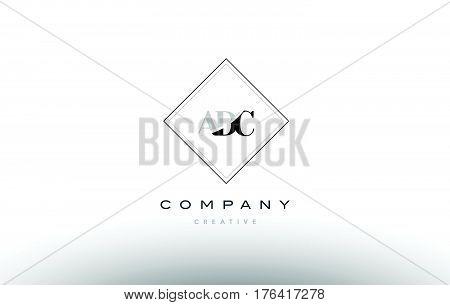 Adc A D C Retro Vintage Rhombus Simple Black White Alphabet Letter Logo
