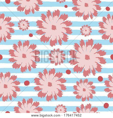 Seamless floral pattern. Flowers on a striped background. Painted by hand with a brush. Colored vector illustration.