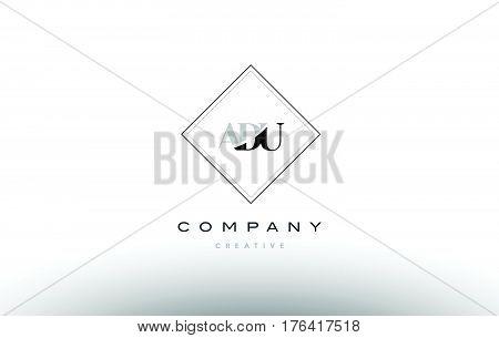 Adu A D U Retro Vintage Rhombus Simple Black White Alphabet Letter Logo