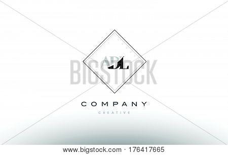Adl A D L Retro Vintage Rhombus Simple Black White Alphabet Letter Logo