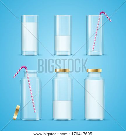 Realistic Clean Milk Glass and Bottles Drink Concept with a Striped Straw. Vector illustration