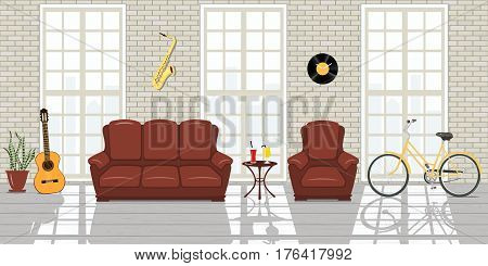 Music studio Interior. Loft Interior, French windows, white brick wall. room of musician, sunlight, shadows. Wooden floor, space concept, guitar, saxophone, vinil disc, sofa, bicycle, chair, table