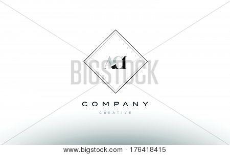 Aci A C I Retro Vintage Rhombus Simple Black White Alphabet Letter Logo