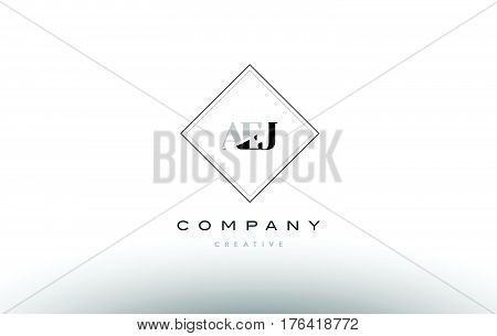 Aej A E J Retro Vintage Rhombus Simple Black White Alphabet Letter Logo