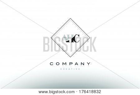 Ahc A H C Retro Vintage Rhombus Simple Black White Alphabet Letter Logo