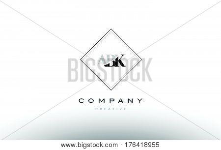 Abk A B K Retro Vintage Rhombus Simple Black White Alphabet Letter Logo