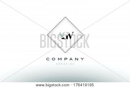 Agv A G V Retro Vintage Rhombus Simple Black White Alphabet Letter Logo