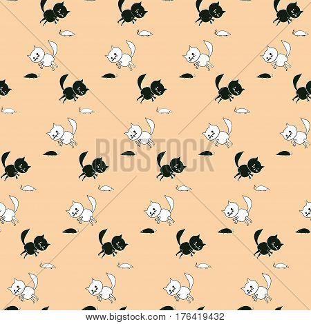 Funny seamless pattern with black and white cats and mice