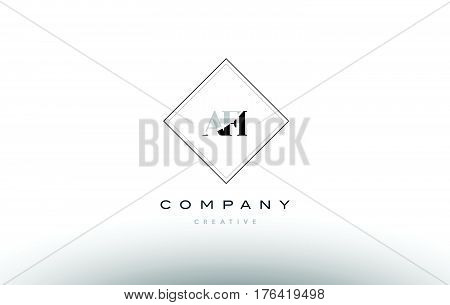 Afi A F I Retro Vintage Rhombus Simple Black White Alphabet Letter Logo