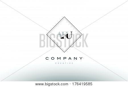 Afu A F U Retro Vintage Rhombus Simple Black White Alphabet Letter Logo