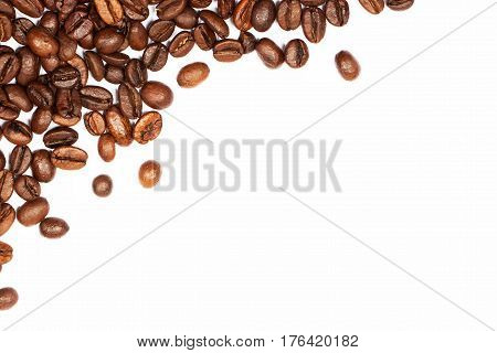 Scattered coffee beans isolated on white background. Background and place for text on topics related to the coffee industry coffee shops etc.