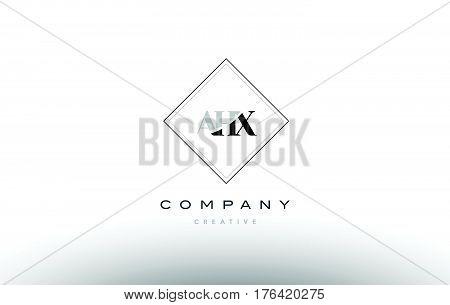Ahx A H X Retro Vintage Rhombus Simple Black White Alphabet Letter Logo