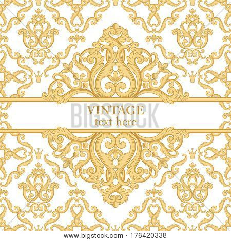 Template card with abstract baroque royal background in golden yellow and white colors. Vector illustration. Can use for wedding invitations greetings card vintage rich background with your text...