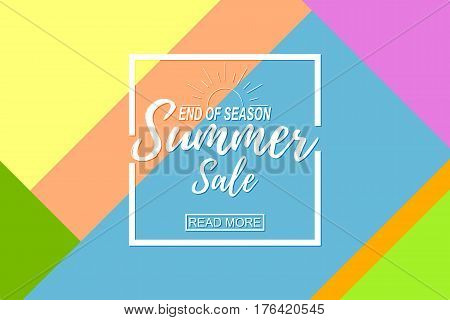 Summer sale template on abstract background. Vector illustration.