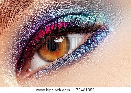Beauty, Cosmetics And Makeup. Magic Eyes Look With Creative Eye Makeup. Macro Shot Of Beautiful Woma