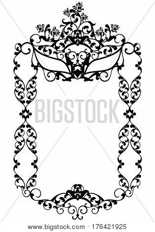 masquerade party decor with carnival mask among rose flowers - black and white vector frame design