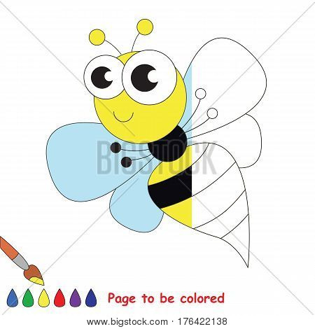 Striped yellow wasp to be colored, the coloring book to educate preschool kids with easy kid educational gaming and primary education of simple game level.