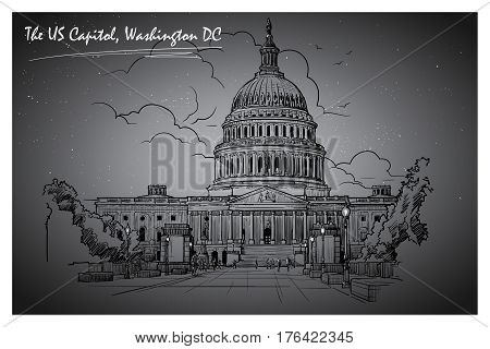 Front view of the US Capitol Building. Cityscape, urban hand drawing.Ink or engraving style sketch isolated on textured night sky background. EPS10 vector illustration.