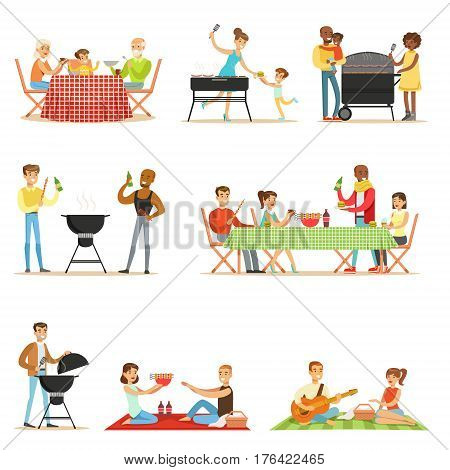 People On BBQ Picnic Outdoors Eating And Cooking Grilled Meat On Electric Barbecue Grill Set Of Scenes. Families And Friends Eating Together In The Park In The Summer Different Fried Food.