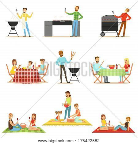 People On BBQ Picnic Outdoors Eating And Cooking Grilled Meat On Electric Barbecue Grill Collection Of Scenes. Families And Friends Eating Together In The Park In The Summer Different Fried Food.