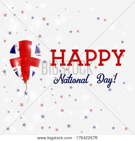 United Kingdom National Day Patriotic Poster. Flying Rubber Balloon In Colors Of The British Flag. U