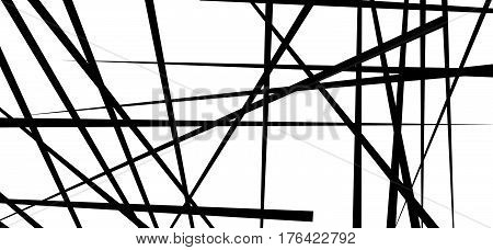 Random Chaotic Lines Abstract Geometric Pattern / Texture. Modern, Contemporary Art-like Illustratio