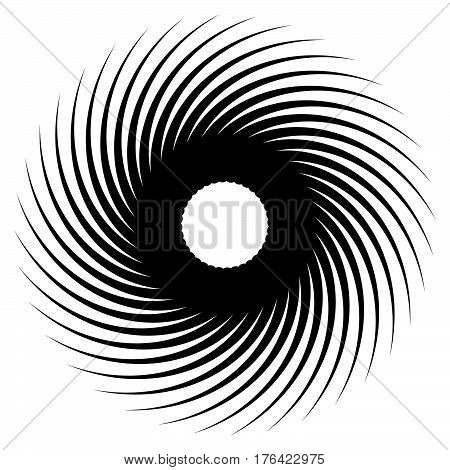 Abstract Geometric Spiral, Ripple Element With Circular, Concentric Lines. Abstract Monochrome Eleme